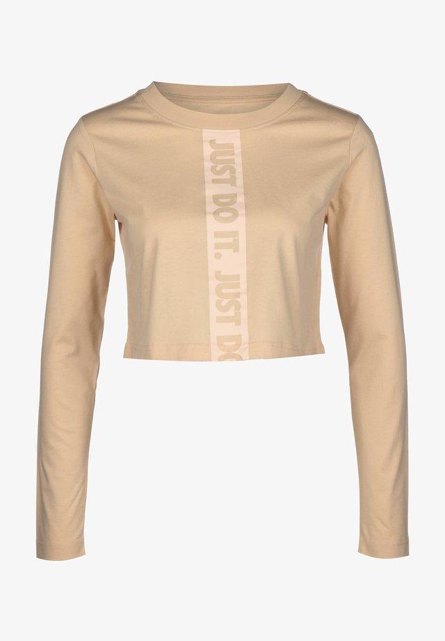 Long sleeved top - white/mottled beige