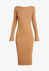4th & Reckless Petite - COREY MIDI DRESS WITH LOW V SHAPED BACK - Robe pull - camel - 4