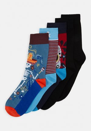 JACMEXICO STRIP SOCK 5 PACK - Ponožky - black/red/blue