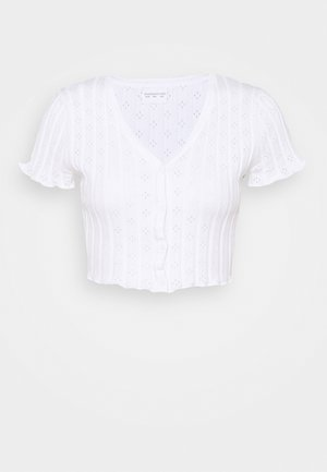 CROP WITH LETTUCE SHORT SLEEVES AND V NECK - Basic T-shirt - white