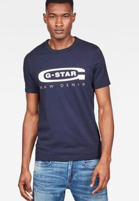 G-Star - Graphic Logo - Triko spotiskem - sartho blue - 0