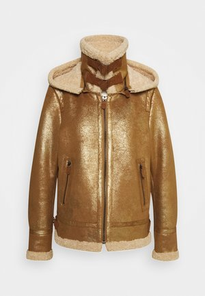 GLORIA - Faux leather jacket - gold