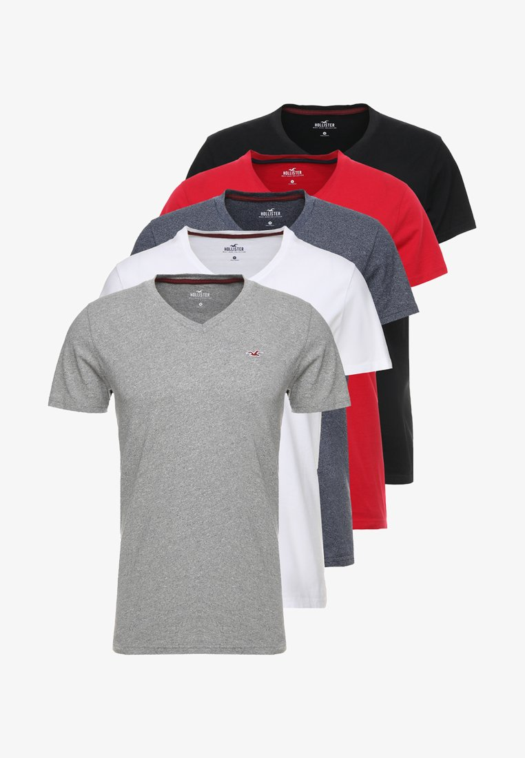 Hollister Co. 5 PACK - T-Shirt print - white/grey/red/navy texture/black/weiß JX6usZ