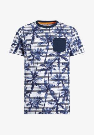 MET STREEP- EN PALMBOOMDESSIN - Print T-shirt - blue
