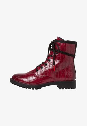 Lace-up ankle boots - bordo croco
