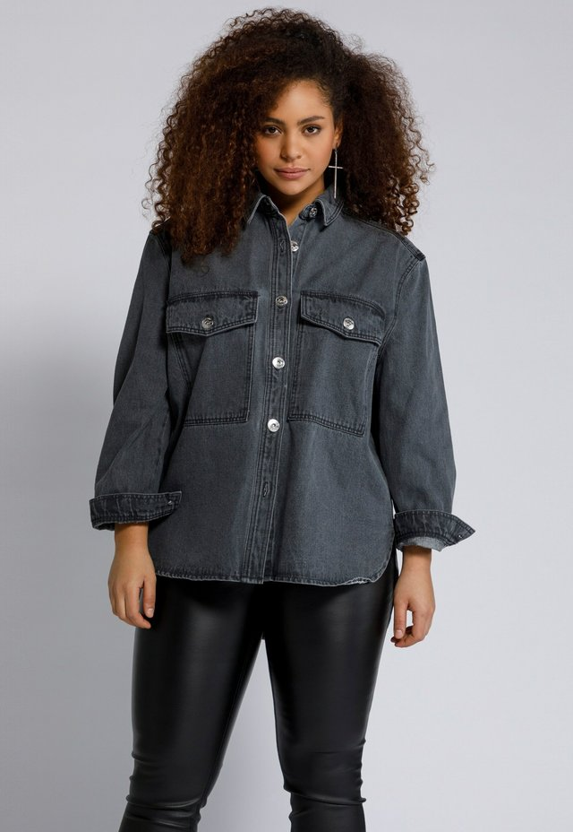 Button-down blouse - grey denim