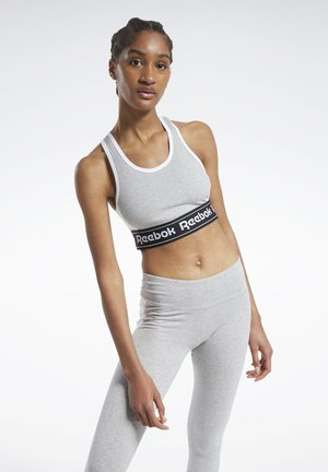TRAINING ESSENTIALS LINEAR LOGO LOW-IMPACT SPORTS BRA - Sports-bh'er - grey