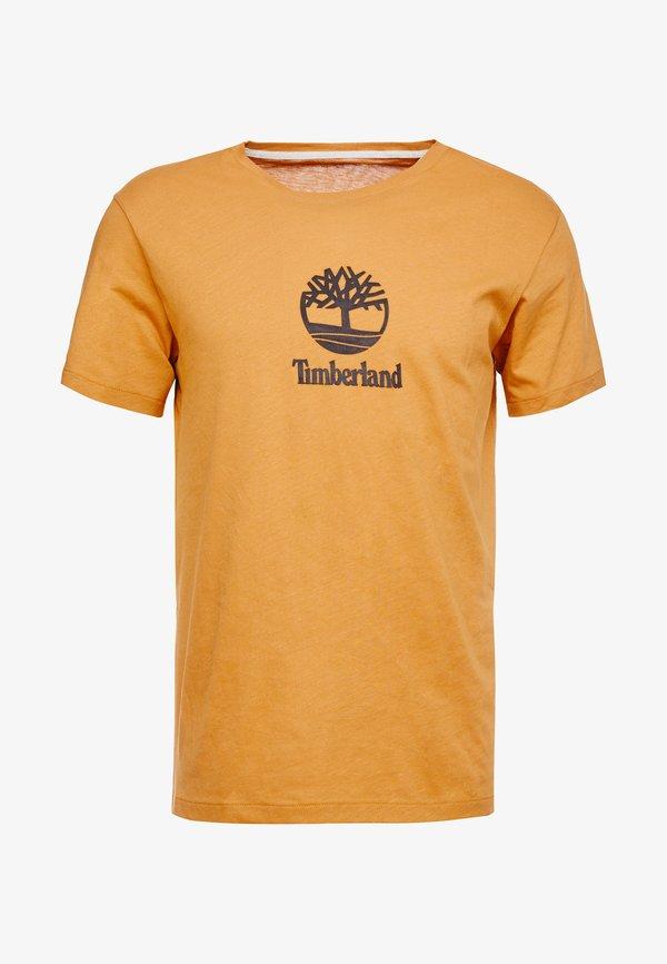 Timberland STACK LOGO TEE - T-shirt z nadrukiem - wheat boot/wielbłądzi Odzież Męska XOTX