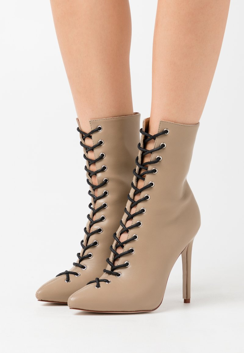 RAID - VELERY TOP UP - High heeled ankle boots - nude