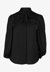 Zizzi - MIT BINDEDETAIL - Button-down blouse - black - 3