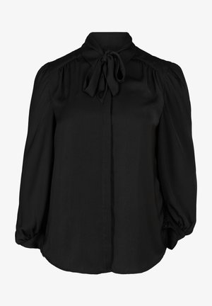 MIT BINDEDETAIL - Button-down blouse - black