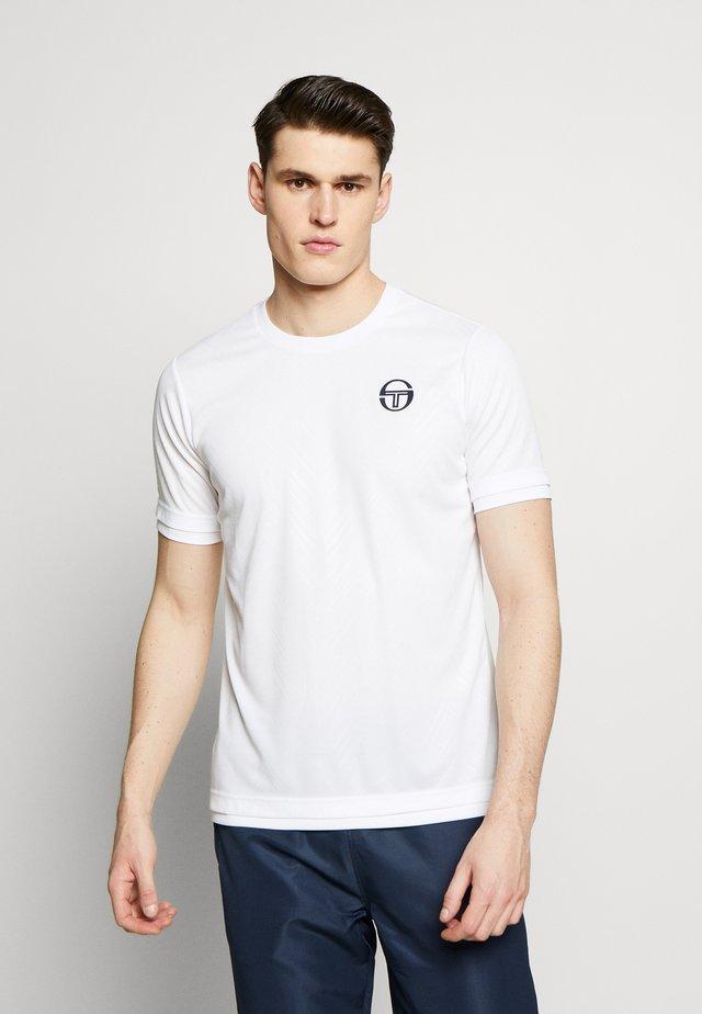 CHEVRON - T-shirt z nadrukiem - white/navy