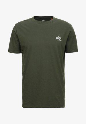 Print T-shirt - dark oliv
