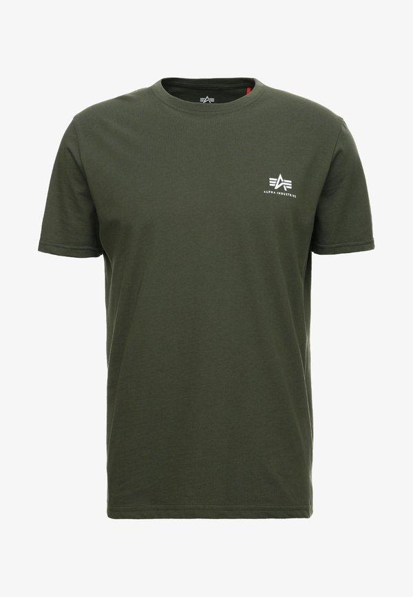Alpha Industries T-shirt z nadrukiem - dark oliv/oliwkowy Odzież Męska SEMI