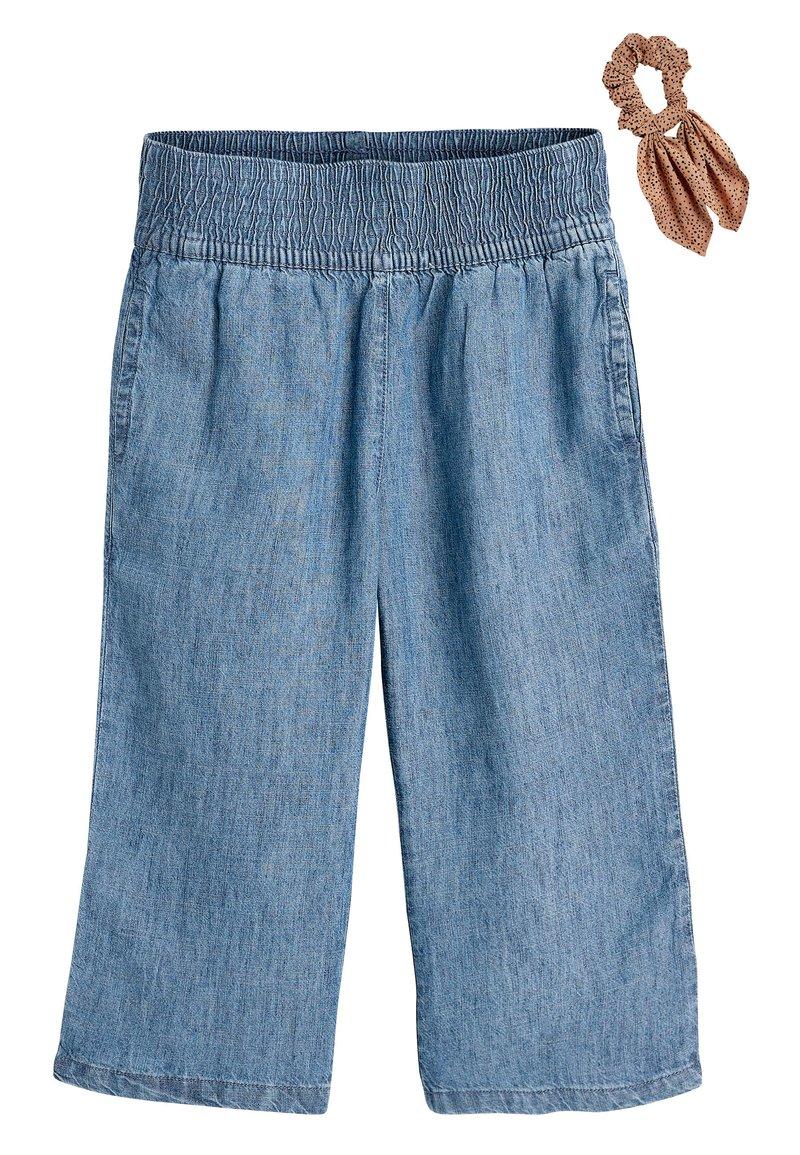Next - DENIM LIGHT WASH CULOTTES WITH SCRUNCHIE (3-16YRS) - Straight leg jeans - blue