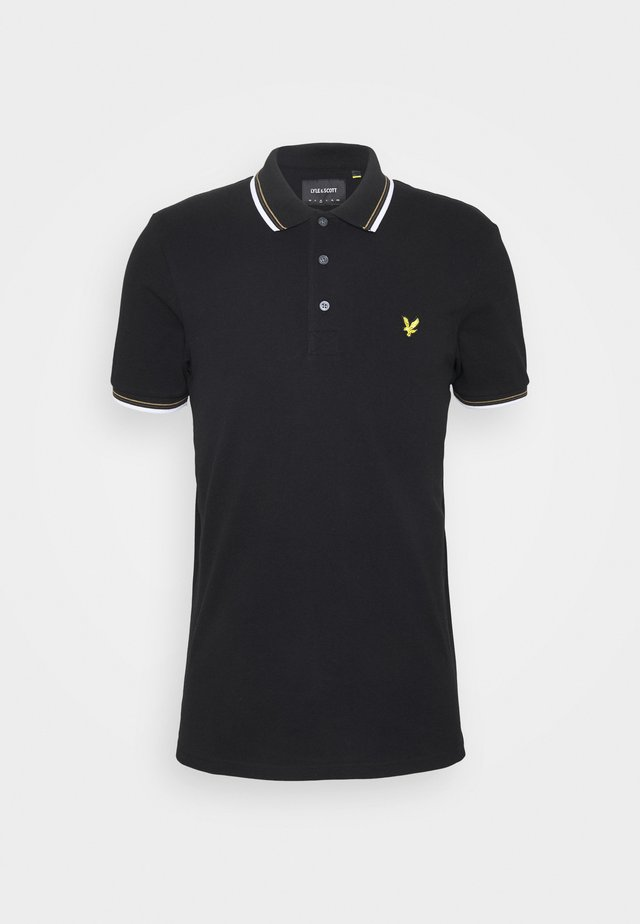 TIPPED  - Polo - jet black/white