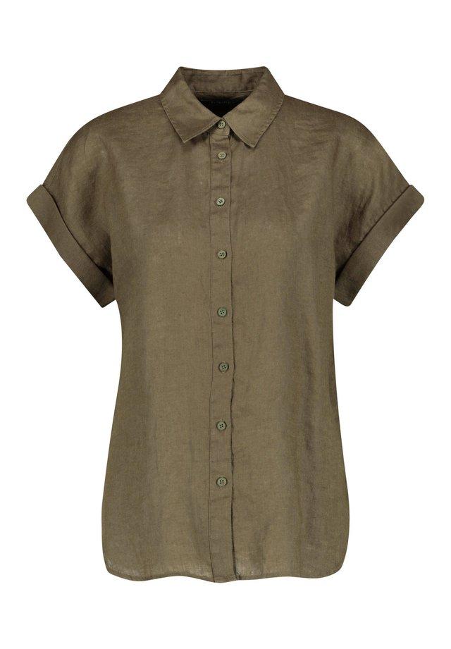 LAUREN RALPH LAUREN DAMEN LEINENBLUSE KURZARM - Button-down blouse - oliv (45)