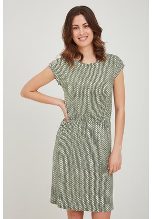 Jersey dress - dusty olive graphic mix