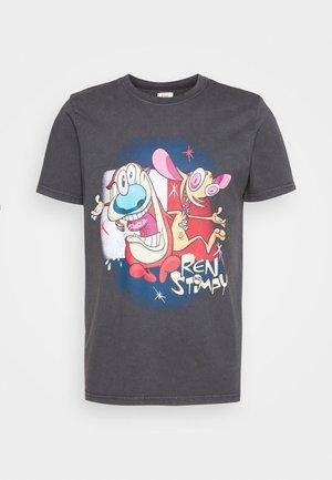 ABO TJU X REN AND STIMPY TEE UNISEX - T-shirt med print - blackout