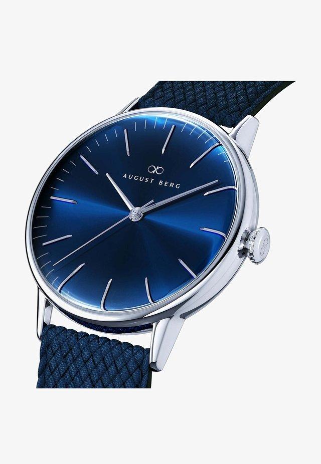 UHR SERENITY DEEP BLUE SILVER BLUE PERLON 40MM - Horloge - sunray blue