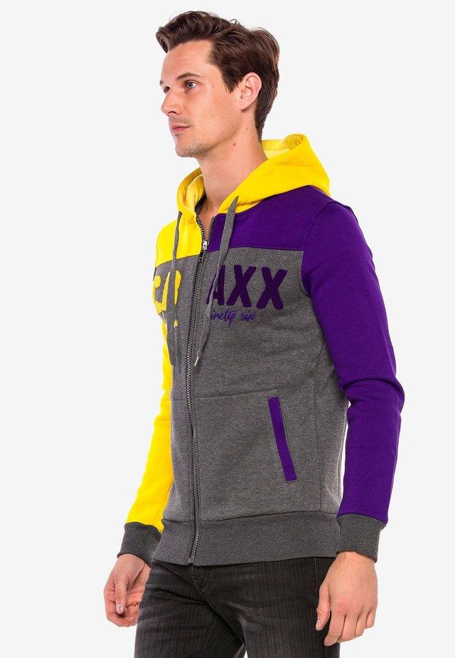 Zip-up hoodie - antraciet-geel