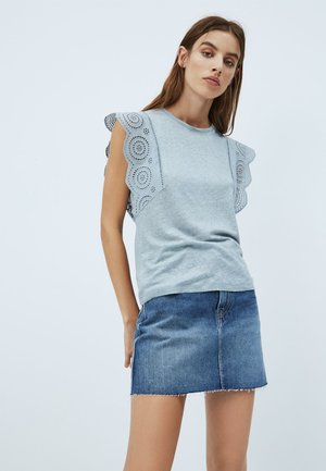CLARA - Basic T-shirt - blue/grey