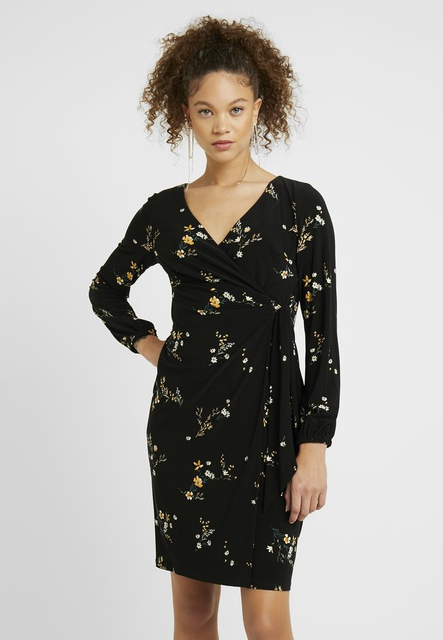 JONI LONG SLEEVE DAY DRESS - Jerseykjole - black/gold ochre/multi