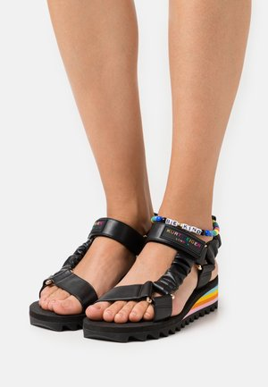 ORION - Wedge sandals - black