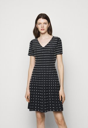 POPCORN TEXTURE FLARE DRESS - Jumper dress - navy/silver