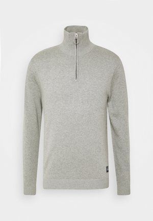 JORELI HIGH NECK ZIP - Jersey de punto - light grey melange
