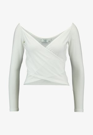 Pamela Reif x NA-KD BARDOT WRAP FRONT CROP - Long sleeved top - off white