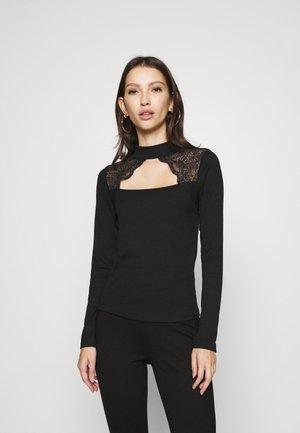 VMAMELIA HIGHNECK LACE - T-shirt à manches longues - black
