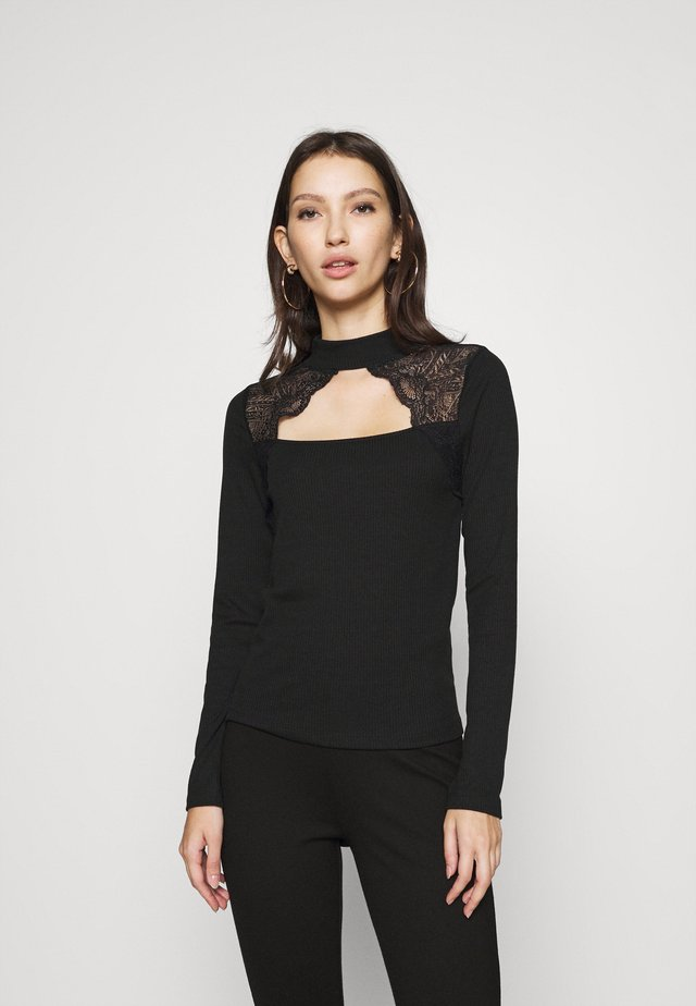 VMAMELIA HIGHNECK LACE - T-shirt à manches longues - black
