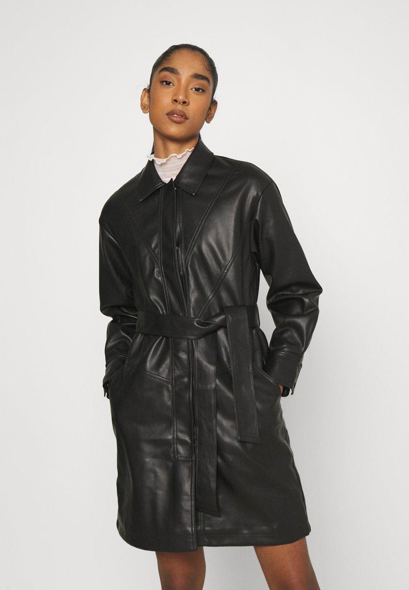 Topshop - BELTED SHAKETT - Short coat - black