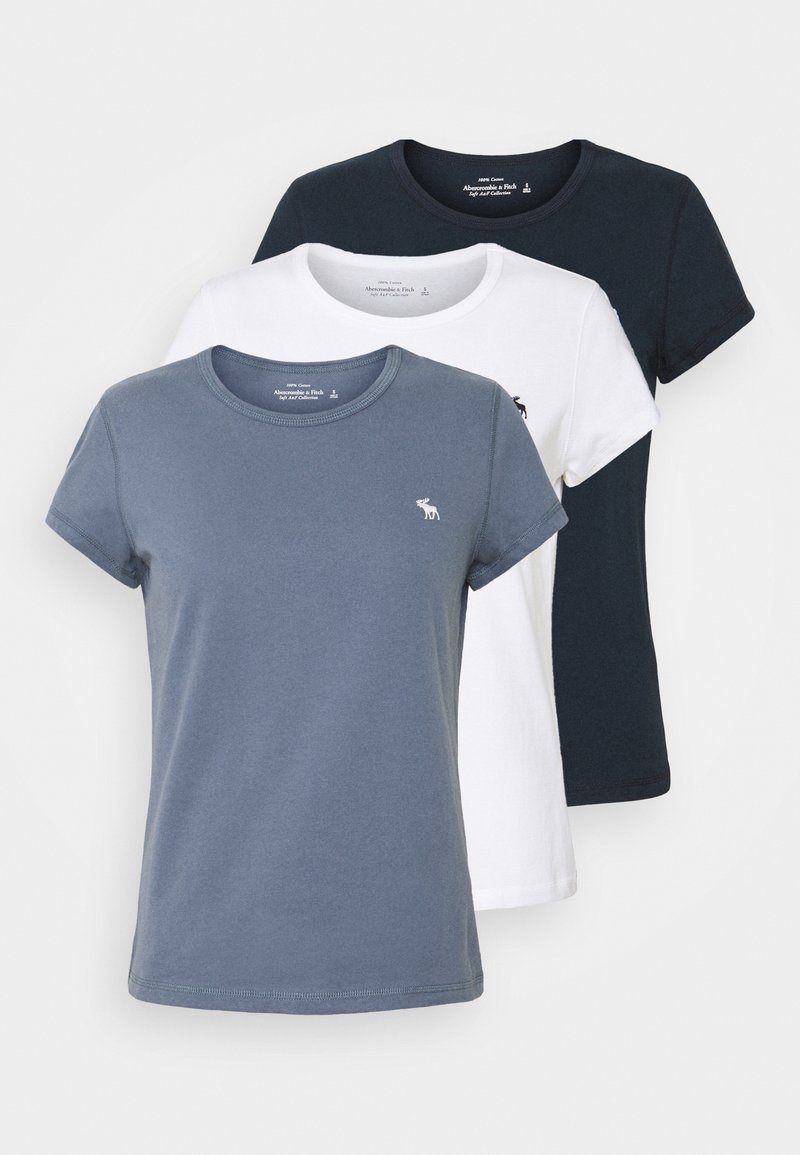 Abercrombie & Fitch - CREW NECK 3 PACK - Basic T-shirt - white/sky captain/grisaille