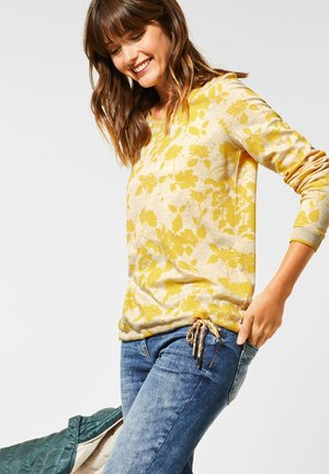 MIT BLUMEN - Long sleeved top - weiß