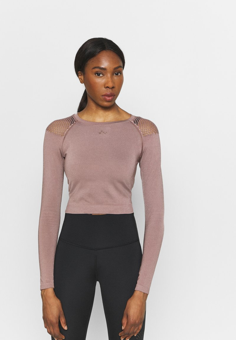 ONLY Play - ONPJABRIL SHORT - Long sleeved top - deep taupe