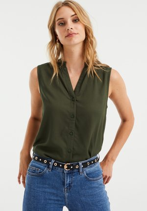 MET STRUCTUUR - Blouse - dark green