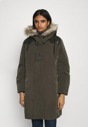TECH PADDED HOODED FAUX FUR LONG - Vinterkåpe / -frakk - asfalt
