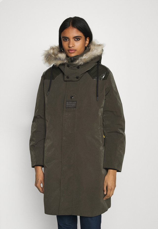 TECH PADDED HOODED FAUX FUR LONG - Talvitakki - asfalt