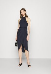 Nly by Nelly - HIGH NECK PLEAT DRESS - Cocktail dress / Party dress - navy - 1