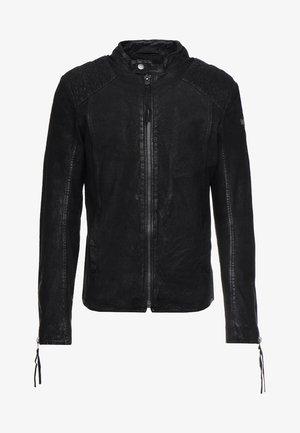 BUFFED - Kožená bunda - black
