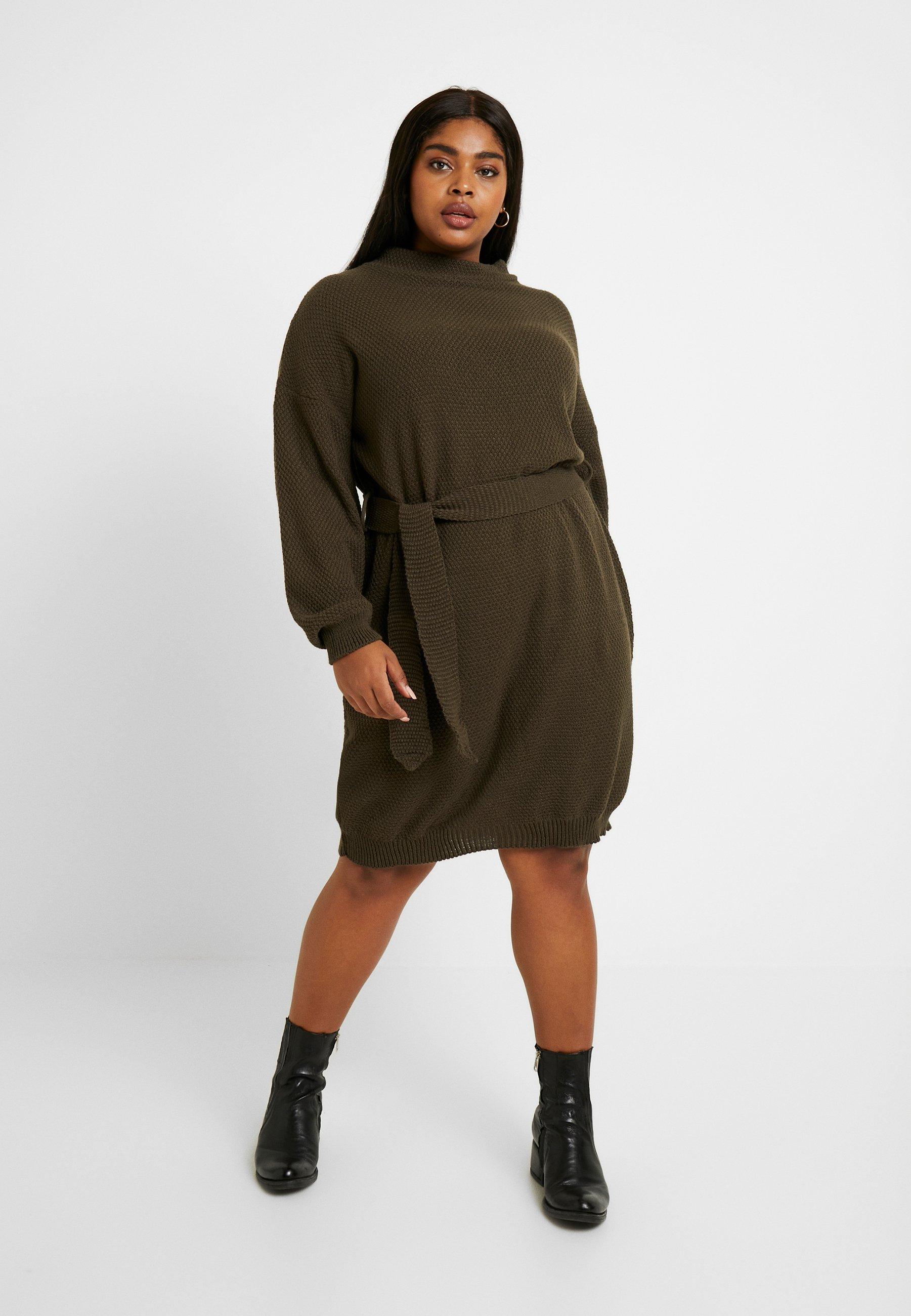Mujer DRESS WITH ROUND NECKLINE PUFF LONG SLEEVES AND TIE BELT - Vestido de punto