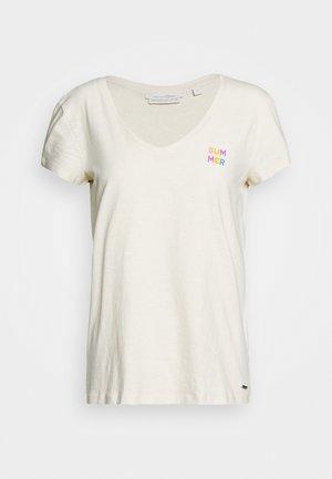 BASIC VNECK TEE WITH EMBRO - Basic T-shirt - soft creme beige