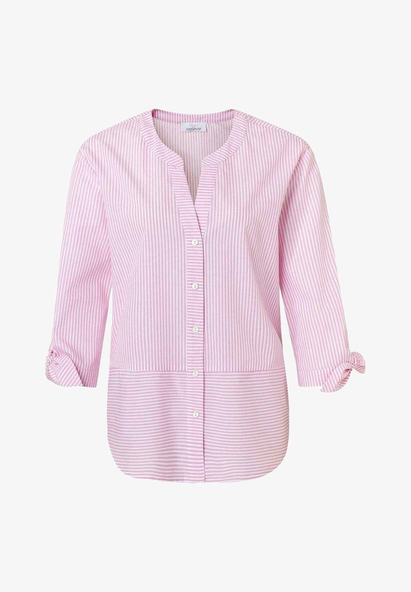 JUST WHITE - Blouse - pink streifen