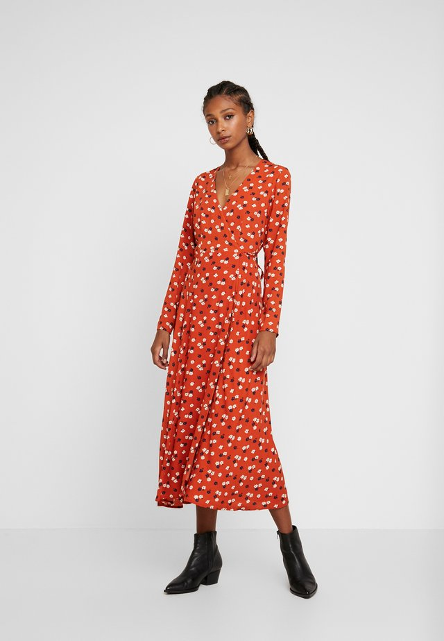 LONG SLEEVE WRAP DRESS - Day dress - rust