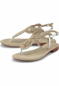 Belmondo - ZEHENTRENNER - T-bar sandals - silver-coloured - 1