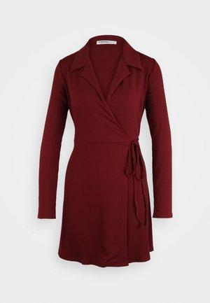 COLLARED RIB WRAP MINI DRESS - Day dress - deep burgandy