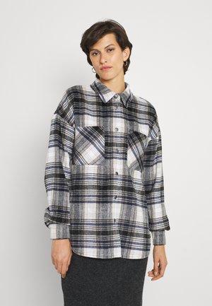 ONLPIA PLAIDED SHIRT - Button-down blouse - blue graphite/cloud dancer