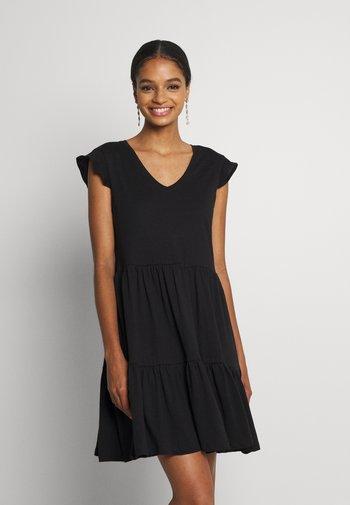 ONLMAY LIFE CAP SLEEVES FRILL DRESS - Jersey dress - black